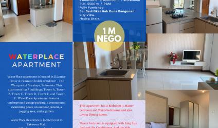 Apartemen WaterPlace Pakuwon indah Surabaya - 3 BR Luas 85m