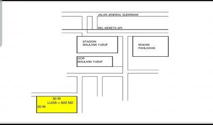 DIJUAL TANAH DI STADION CICERI SERANG LUAS 600 M2