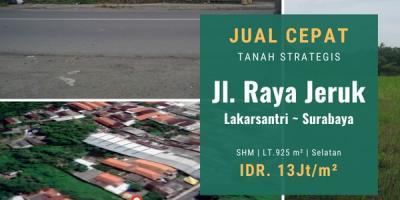 Tanah Jalan Raya Jeruk, Lakarsantri, Surabaya   Premium Location.